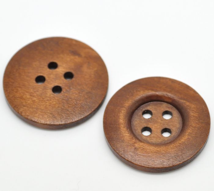 Wooden Button brown 35mm
