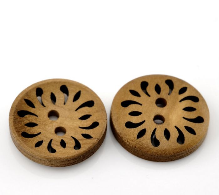 Wooden Button coffeebrown 23mm